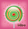 rainbow lollipop pink background vector image