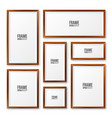 realistic blank wooden picture frames collection vector image vector image