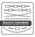 Realistic metal chain set silver chains vector image vector image