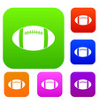 rugby ball set color collection vector image vector image