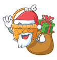 santa with gift easter basket above wooden cartoon vector image