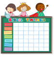 school timetable template with boys and girls vector image