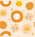 seamless patterns with funny sun characters vector image