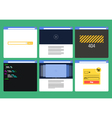 Set of Flat Style browser windows with content vector image