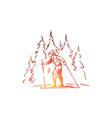 skiing winter forest sport extreme concept vector image vector image