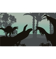 spinosaurus in forest scenery silhouette vector image vector image