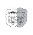 sticker monochrome with half shadow with couple vector image vector image
