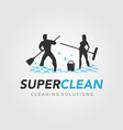 super clean for cleaning service logo vector image