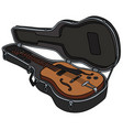 the retro semiaccoustic guitar in a hard case vector image vector image