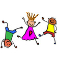 three playing children color vector image
