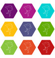 throwing player icons set 9 vector image