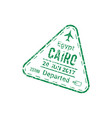 visa stamp cairo airport departed country sign vector image vector image
