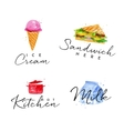 Watercolor label sandwich vector image vector image