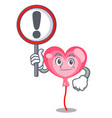 with sign ballon heart character cartoon vector image