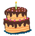 a two layered-cake dripped in chocolate dressing vector image