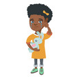 african-american girl crying and holding toy vector image