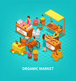 agriculture market isometric composition vector image vector image