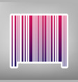 bar code sign purple gradient icon on vector image