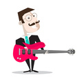 Bass Guitar Player Isolated on White - Retro Flat vector image vector image