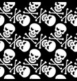 black and white seamless pattern with skulls vector image vector image