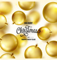 christmas background with tree balls golden ball vector image vector image