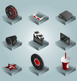 cinema color gradient isometric icons set vector image vector image
