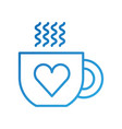 cup of coffee tea hot with heart icon on white vector image
