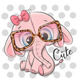 cute cartoon pink elephant in pink glasses vector image vector image