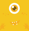 cute monster cartoon face over yellow abstract vector image vector image