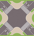 empty urban crossroad with pedestrian paths city vector image