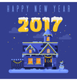 flat style of night winter holiday house vector image vector image