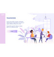 flat teamwork group people in office vector image vector image