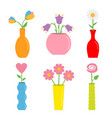 flower in vase cute colorful icon set ceramic vector image