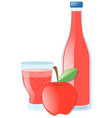 fresh apple and juice in bottle vector image