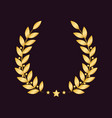 golden laurel wreath with a star isolated on dark vector image vector image