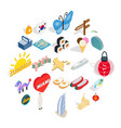 guesthouse icons set isometric style vector image