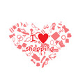 i love shopping product heart frame background vec vector image vector image