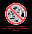 international day against drug abuse background vector image vector image