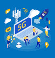 internet 5g isometric background composition vector image