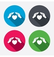 Life insurance sign icon Hands protect cover vector image