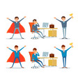 man working by office table business superman vector image vector image
