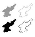 map of north korea icon outline set grey black vector image