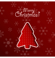 Merry christmas red background with fir tree vector image vector image