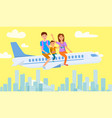 mother father and son sitting on airplane drawing vector image
