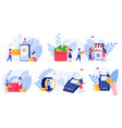 online payment methods and people concept vector image