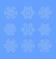 outline silhouette snowflakes on blue sky vector image