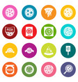 pizza icons many colors set vector image