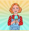 pop art little girl eating tasty ice cream vector image