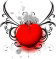 red heart on black pattern vector image vector image