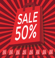 Sale 10 - 90 percent text on with red shopping bag vector image vector image